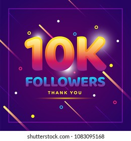 10k or 10000 followers thank you colorful background and glitters. Illustration for Social Network friends, followers, Web user Thank you celebrate of subscribers or followers and likes
