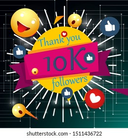 10k, 10000 followers thank you with gold balloons and colorful confetti. Illustration 3d render for social network friends, followers, web user