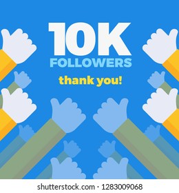 10k follower background with hands in flat design. Vector