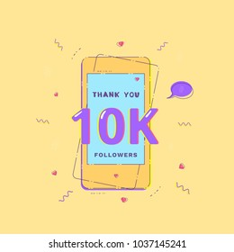 10K Followers banner with phone. Template for social media.  Vector illustration.