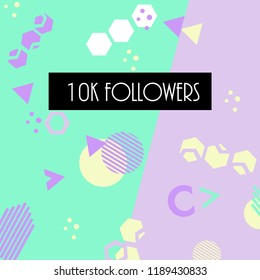 10k followers card banner template for celebrating many followers in on-line social media networks.Vector pattern of coloured likes 10K subscribers