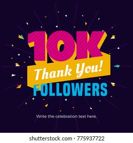10k followers card banner template for celebrating many followers in online social media networks.
