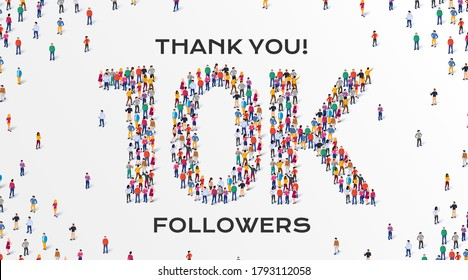 10K Followers. Group of business people are gathered together in the shape of 10000 word, for web page, banner, presentation, social media, Crowd of little people. Teamwork. Vector illustration