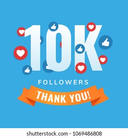 10k followers, social sites post, greeting card vector illustration