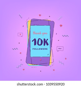 10K Followers thank you card with phone. Template for social media post. Glitch chromatic aberration style. 10000 subscribers banner. Vector illustration.