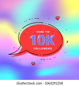 10k followers thank you card. Celebration 10000 subscribers geometric banner. Template for social media. Vector illustration.