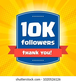 10K followers Thank you design card for celebrating a large number of subscribers or followers in social networks