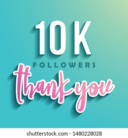 10K followers Thank you - Illustration for Social Network friends, followers, Web user Thank you celebrate of subscribers or followers and likes.