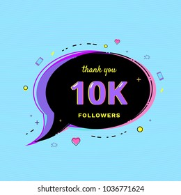 10K Followers thank you message with speech bubble and random items. Template for social media post. Glitch chromatic aberration style. 10000 subscribers banner for network. Vector illustration.