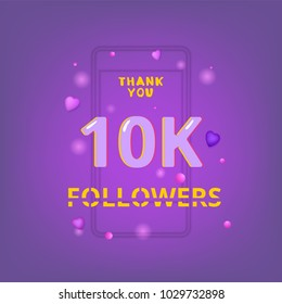 10K Followers thank you phrase with random items. Template for social media post. Glitch chromatic aberration style. Ultra violet palette colors. 10000 subscribers banner. Vector illustration.
