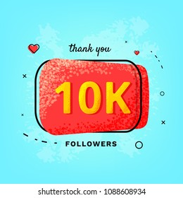 10K followers thank you post. 10000 subscribers red button on blue textured backgroun. Greeting card for social networks. Template for social media. Vector illustration.