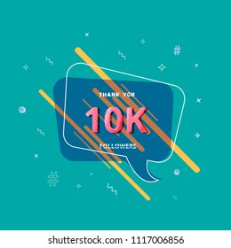 10K followers thank you post with decoration. 10000 subscribers  banner. Greeting card for social networks. Vector illustration.