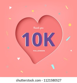 10K followers thank you post with heart shape and decoration. 10000 subscribers celebration banner. Greeting card for social networks. Vector illustration.