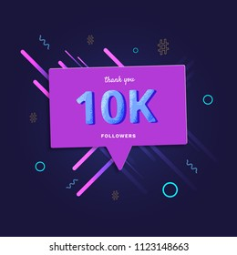 10K followers thank you post with decoration. 10000 subscribers  banner with speech bubble. Greeting card for social networks. Vector illustration.