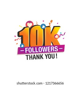 10K followers thank you post with decoration, for social media networks.