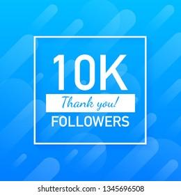 10K followers, Thank You, social sites post. Thank you followers congratulation card. Vector stock illustration.