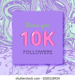 10K Followers thank you square banner with liquid background and frame. Template for social media post. Cover for graphic design. Ultra violet palette colors. 10000 followers. Vector illustration.