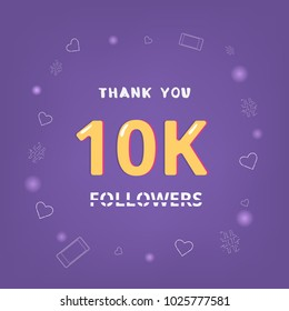 10K Followers thank you square banner with items round frame. Ultra violet palette colors. Element for graphic design. Template for social media post. 10000 subscribers. Vector illustration.
