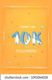 10K followers thank you vertical post for story. 10000 subscribers. Greeting card for social networks. Template for social media post for blog. Vector illustration.