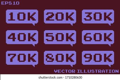 10K Followers,10000 follower congratulation card.Web user celebrates subscribers and followers.Template for social media. Vector illustration.