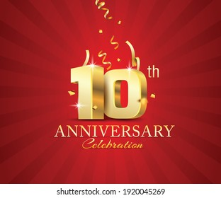 10th 3d Anniversary celebration banner with festival confetti on red abstract background