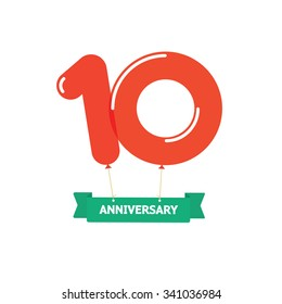 10th anniversary balloons poster red label. 10 years trend modern logotype icon sticker design. Ten years birthday party glossy balloon vector symbol. Tenth cartoon child style ribbon, emblem tag sign