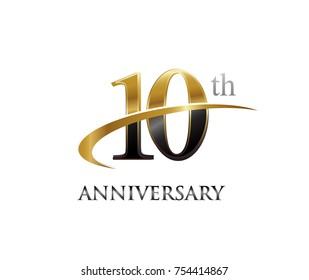10th anniversary black and golden swoosh. simple logo vector design for greeting card and invitation card