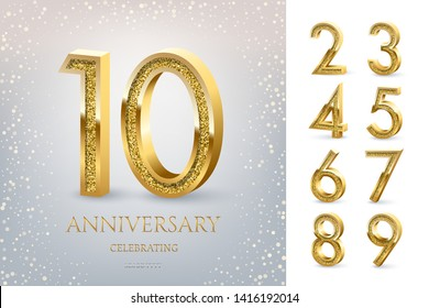 10th Anniversary Celebrating golden text and confetti on light blue background with numbers. Vector celebration anniversary event template