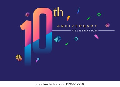 10th anniversary celebration with colorful design, modern style with ribbon and colorful confetti isolated on dark background, for birthday celebration