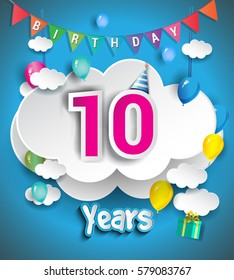 10th Anniversary Celebration Design, with clouds and balloons, confetti. Vector template elements for your, ten years birthday celebration party.