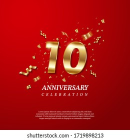 10th Anniversary celebration. Golden number 10 with sparkling confetti, stars, glitters and streamer ribbons on red background. Vector festive illustration. Birthday or wedding party event decoration