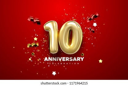 10th Anniversary celebration. Golden numbers with sparkling confetti, stars, glitters and streamer ribbons. Vector festive illustration. Realistic 3d sign. Party event decoration