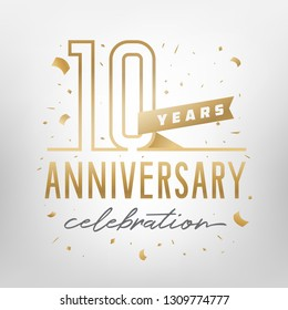 10th anniversary celebration golden template. Shiny gold numbers with confetti around. Vector illustration.