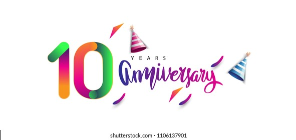 10th anniversary celebration logotype and anniversary calligraphy text colorful design, celebration birthday design on white background.