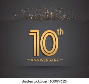 10th anniversary design for company celebration event with golden multiple line and confetti isolated on dark background