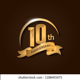 10th Anniversary design logotype. Anniversary logo design with swoosh and elegance golden ribbon. Vector template for use celebration, invitation card, and greeting card