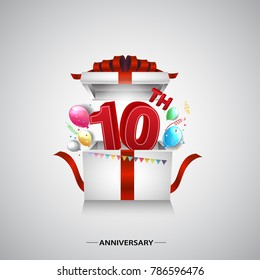 10th anniversary design with red number inside gift box isolated on white background for celebration event