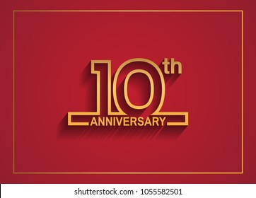 10th anniversary design with simple line style golden color isolated on red background for celebration event