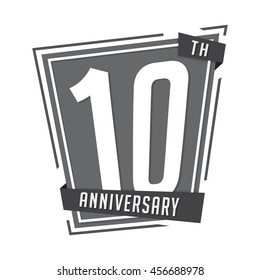 10th anniversary design template. Vector and illustration.