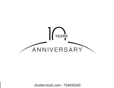 10th anniversary emblem. Ten years anniversary celebration symbol