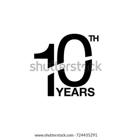 10th Anniversary Emblem Ten Years Anniversary Stock Vector Royalty