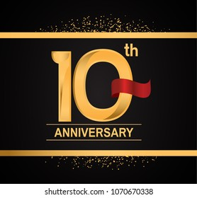 10th anniversary golden design with red ribbon and glitter isolated on black background for celebration