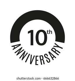 10th anniversary icon. 10 years celebrating or birthday logo. Vector illustration.
