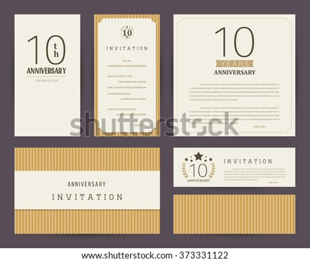10th Anniversary Invitation Cards Template Stock Vector Royalty