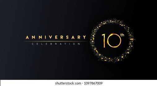 10th anniversary logo with confetti and golden glitter ring isolated on black background, vector design for greeting card and invitation card.