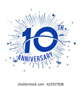10th anniversary logo with firework and swoosh