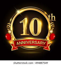 10th anniversary logo with golden ring,balloons and red ribbon. Vector design template elements for your birthday celebration.