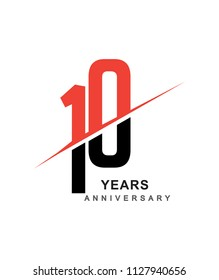 10th anniversary logo red and black swoosh design isolated on white background for anniversary celebration.
