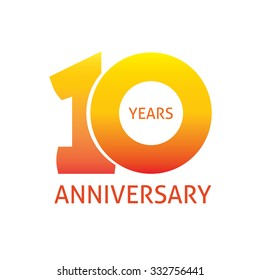 10th anniversary logo template  with a shadow on circle and the number 1 (one). 10 years icon. Ten years birthday party symbol. Tenth company sticker, ribbon, banner, poster, logotype, emblem, tag