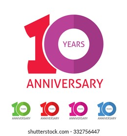 10th anniversary logo template  with a shadow on circle number 1 (one). 10 years anniversary icon. Ten years birthday party symbol. Tenth company sale sticker, badge, ribbon, poster, logotype, emblem
